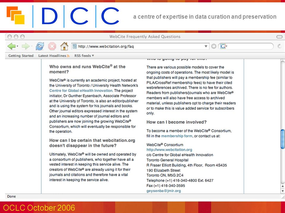 a centre of expertise in data curation and preservation OCLC October 2006