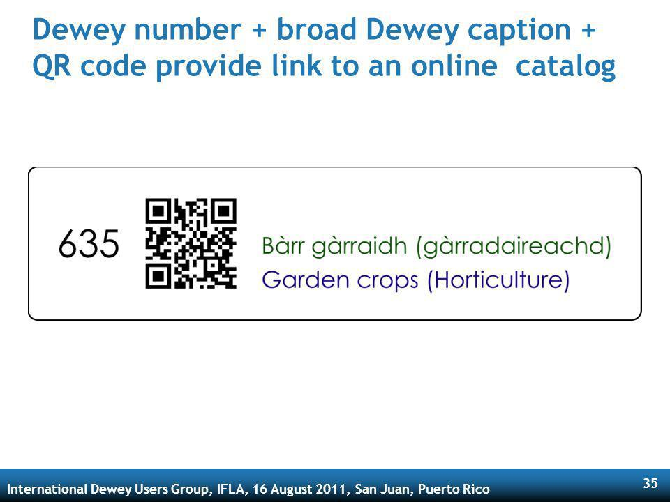 International Dewey Users Group, IFLA, 16 August 2011, San Juan, Puerto Rico 35 Dewey number + broad Dewey caption + QR code provide link to an online catalog