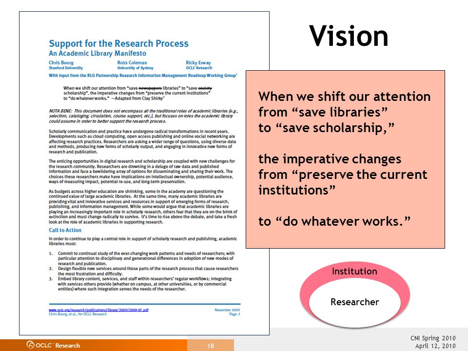 Research April 12, 2010 CNI Spring 2010 18 Vision Institution Researcher When we shift our attention from save libraries to save scholarship, the imperative changes from preserve the current institutions to do whatever works.