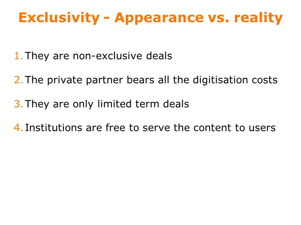 13 Exclusivity - Appearance vs.