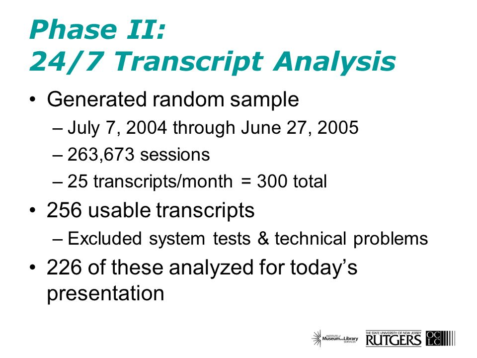 Phase II: 24/7 Transcript Analysis Generated random sample –July 7, 2004 through June 27, 2005 –263,673 sessions –25 transcripts/month = 300 total 256 usable transcripts –Excluded system tests & technical problems 226 of these analyzed for todays presentation