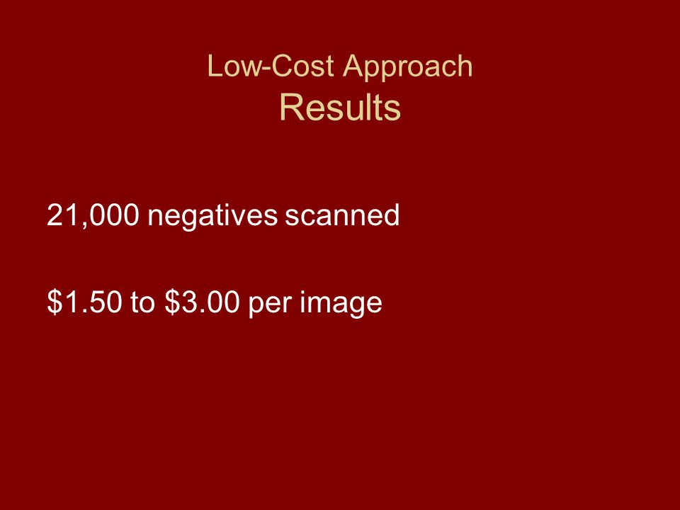Low-Cost Approach Results 21,000 negatives scanned $1.50 to $3.00 per image