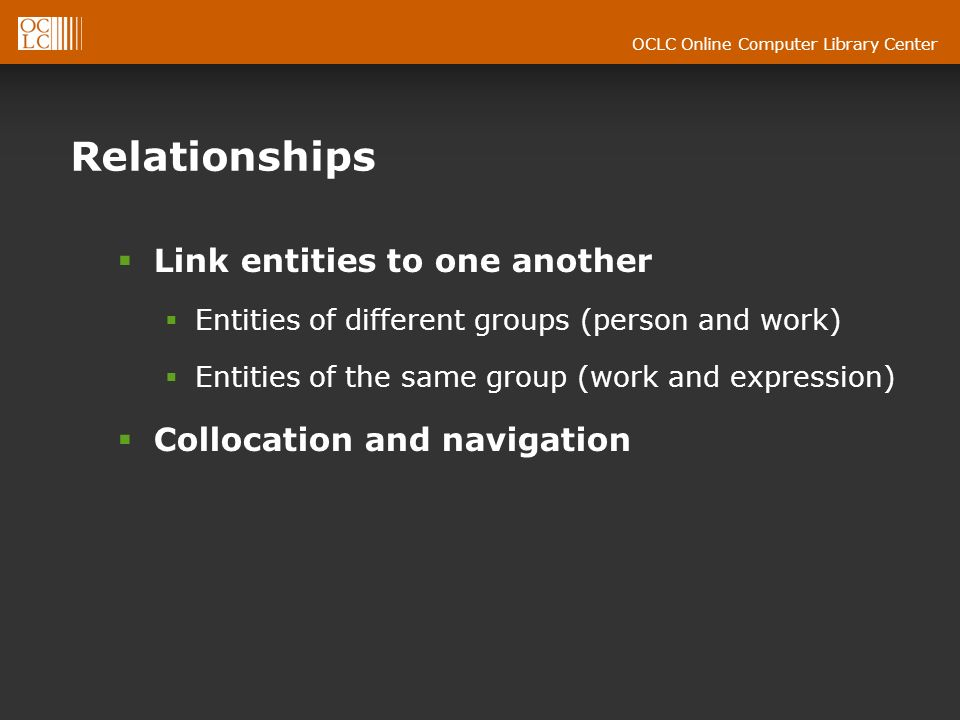 OCLC Online Computer Library Center Relationships Link entities to one another Entities of different groups (person and work) Entities of the same group (work and expression) Collocation and navigation