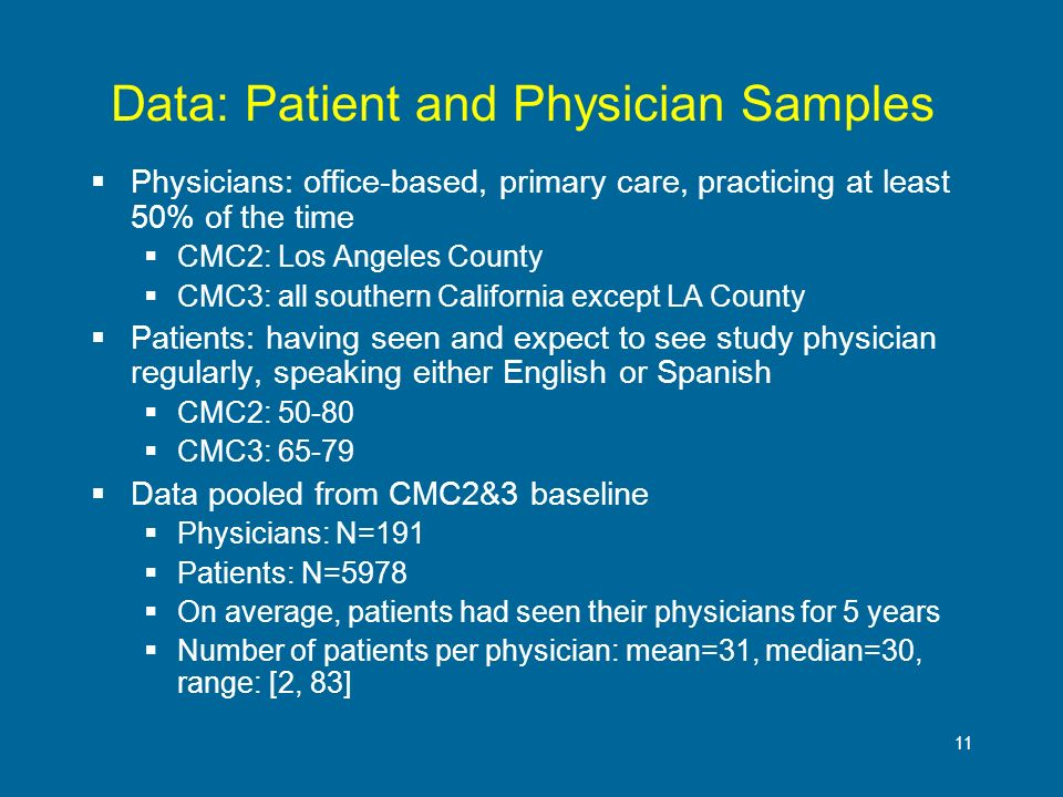 11 Data: Patient and Physician Samples Physicians: office-based, primary care, practicing at least 50% of the time CMC2: Los Angeles County CMC3: all southern California except LA County Patients: having seen and expect to see study physician regularly, speaking either English or Spanish CMC2: 50-80 CMC3: 65-79 Data pooled from CMC2&3 baseline Physicians: N=191 Patients: N=5978 On average, patients had seen their physicians for 5 years Number of patients per physician: mean=31, median=30, range: [2, 83]