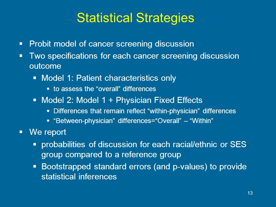 13 Statistical Strategies Probit model of cancer screening discussion Two specifications for each cancer screening discussion outcome Model 1: Patient characteristics only to assess the overall differences Model 2: Model 1 + Physician Fixed Effects Differences that remain reflect within-physician differences Between-physician differences=Overall – Within We report probabilities of discussion for each racial/ethnic or SES group compared to a reference group Bootstrapped standard errors (and p-values) to provide statistical inferences