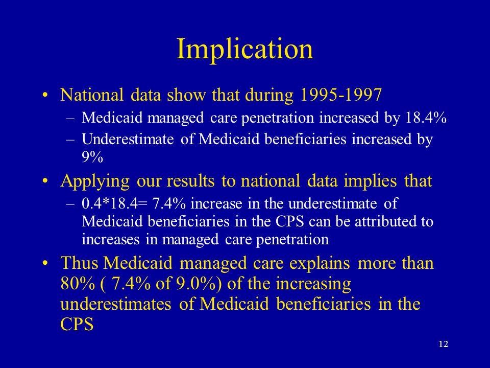 12 Implication National data show that during 1995-1997 –Medicaid managed care penetration increased by 18.4% –Underestimate of Medicaid beneficiaries increased by 9% Applying our results to national data implies that –0.4*18.4= 7.4% increase in the underestimate of Medicaid beneficiaries in the CPS can be attributed to increases in managed care penetration Thus Medicaid managed care explains more than 80% ( 7.4% of 9.0%) of the increasing underestimates of Medicaid beneficiaries in the CPS