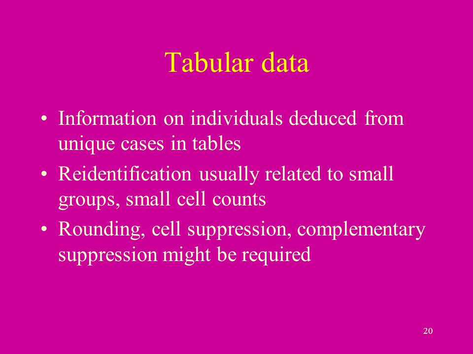 20 Tabular data Information on individuals deduced from unique cases in tables Reidentification usually related to small groups, small cell counts Rounding, cell suppression, complementary suppression might be required