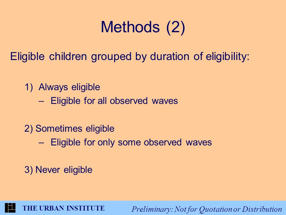 THE URBAN INSTITUTE Preliminary: Not for Quotation or Distribution Methods (2) Eligible children grouped by duration of eligibility: 1)Always eligible –Eligible for all observed waves 2) Sometimes eligible –Eligible for only some observed waves 3) Never eligible