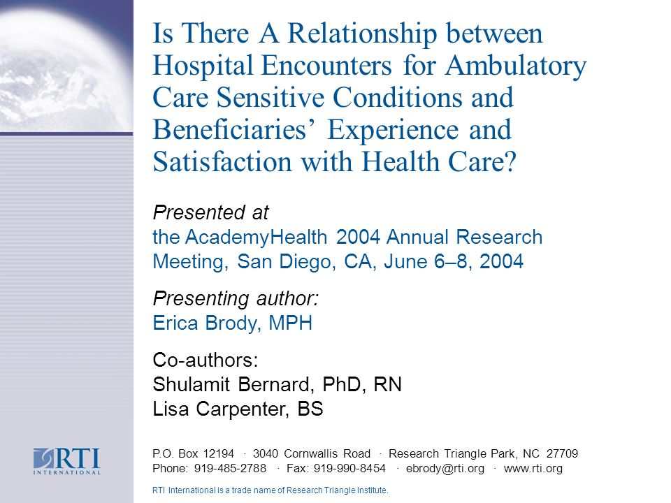 Is There A Relationship between Hospital Encounters for Ambulatory Care Sensitive Conditions and Beneficiaries Experience and Satisfaction with Health Care.