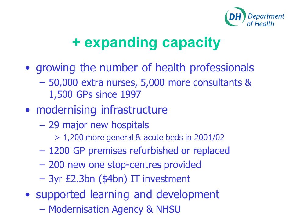 + expanding capacity growing the number of health professionals –50,000 extra nurses, 5,000 more consultants & 1,500 GPs since 1997 modernising infrastructure –29 major new hospitals > 1,200 more general & acute beds in 2001/02 –1200 GP premises refurbished or replaced –200 new one stop-centres provided –3yr £2.3bn ($4bn) IT investment supported learning and development –Modernisation Agency & NHSU