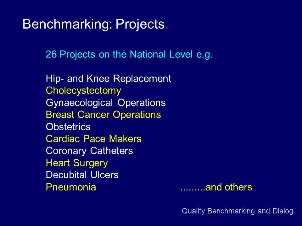 Quality Benchmarking and Dialog Benchmarking: Projects.