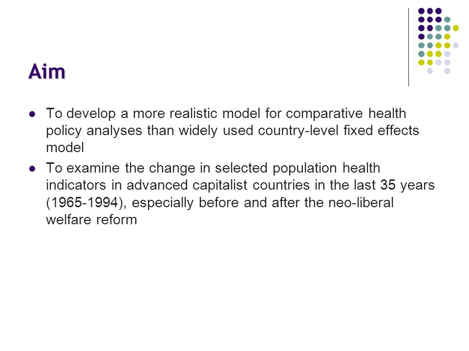 Aim To develop a more realistic model for comparative health policy analyses than widely used country-level fixed effects model To examine the change in selected population health indicators in advanced capitalist countries in the last 35 years (1965-1994), especially before and after the neo-liberal welfare reform