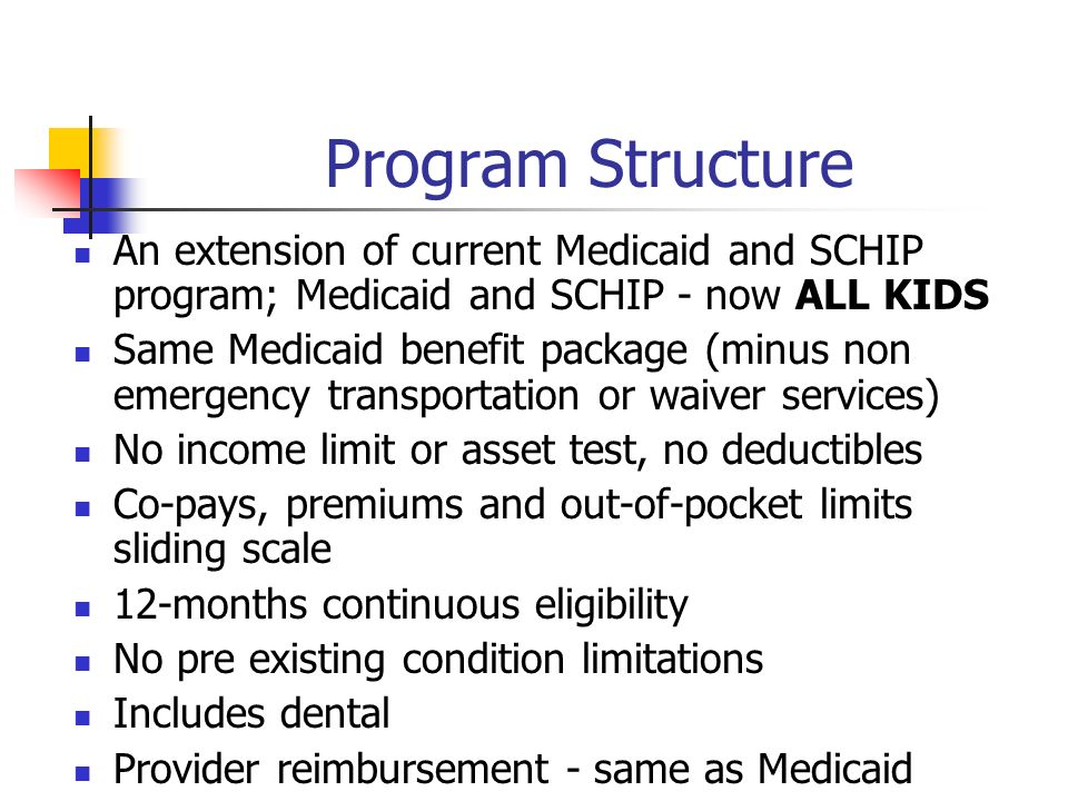 Program Structure An extension of current Medicaid and SCHIP program; Medicaid and SCHIP - now ALL KIDS Same Medicaid benefit package (minus non emergency transportation or waiver services) No income limit or asset test, no deductibles Co-pays, premiums and out-of-pocket limits sliding scale 12-months continuous eligibility No pre existing condition limitations Includes dental Provider reimbursement - same as Medicaid