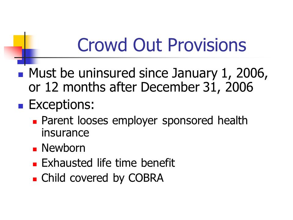 Crowd Out Provisions Must be uninsured since January 1, 2006, or 12 months after December 31, 2006 Exceptions: Parent looses employer sponsored health insurance Newborn Exhausted life time benefit Child covered by COBRA
