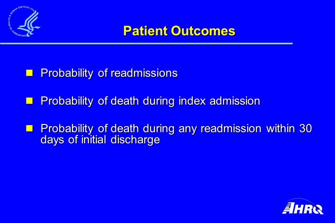 Patient Outcomes Probability of readmissions Probability of readmissions Probability of death during index admission Probability of death during index admission Probability of death during any readmission within 30 days of initial discharge Probability of death during any readmission within 30 days of initial discharge