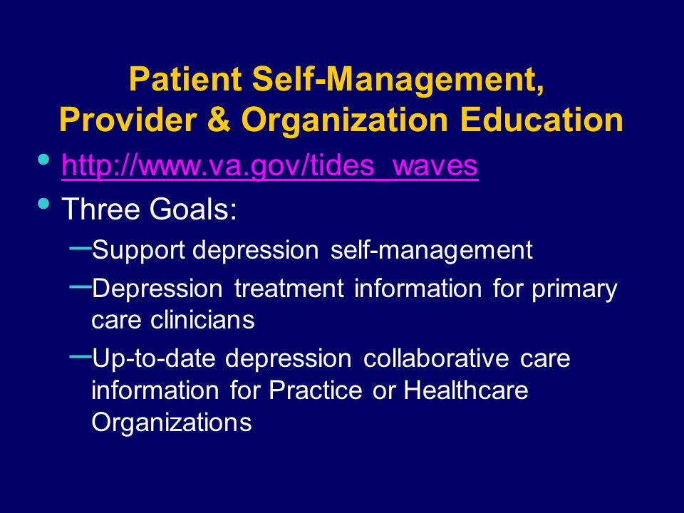 Patient Self-Management, Provider & Organization Education http://www.va.gov/tides_waves Three Goals: – Support depression self-management – Depression treatment information for primary care clinicians – Up-to-date depression collaborative care information for Practice or Healthcare Organizations