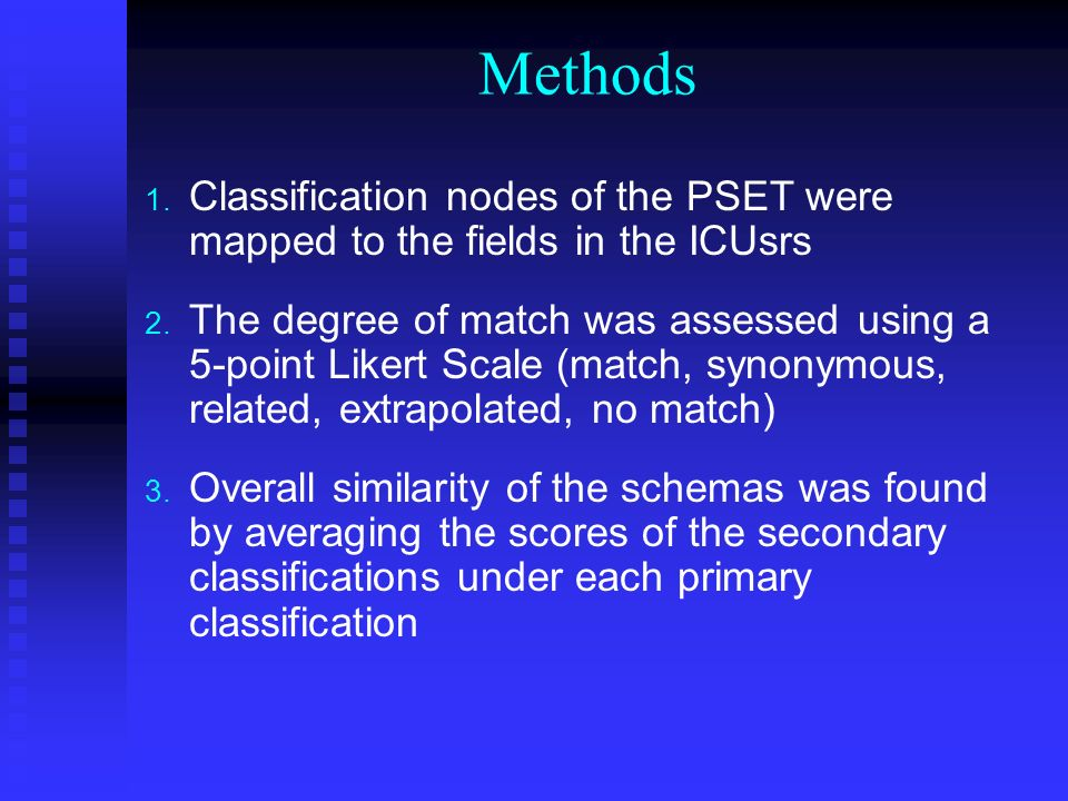 Methods 1. Classification nodes of the PSET were mapped to the fields in the ICUsrs 2.