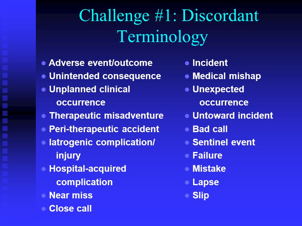 Challenge #1: Discordant Terminology Adverse event/outcome Unintended consequence Unplanned clinical occurrence Therapeutic misadventure Peri-therapeutic accident Iatrogenic complication/ injury Hospital-acquired complication Near miss Close call Incident Medical mishap Unexpected occurrence Untoward incident Bad call Sentinel event Failure Mistake Lapse Slip