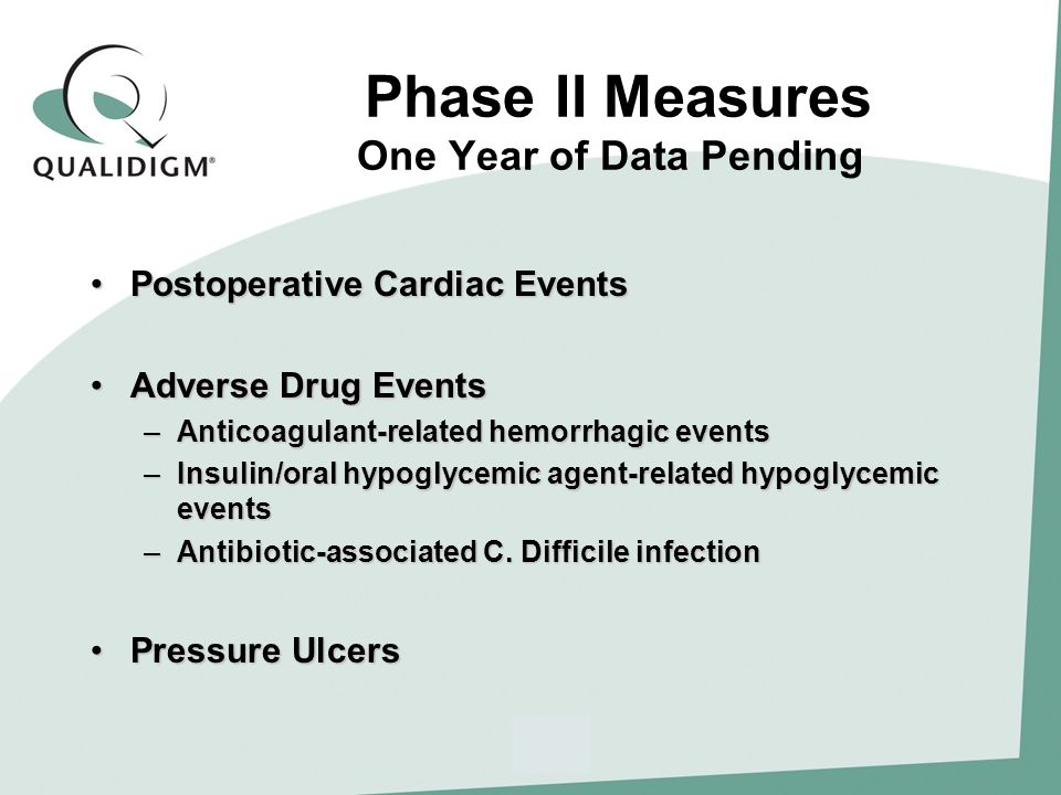 Phase II Measures One Year of Data Pending Postoperative Cardiac EventsPostoperative Cardiac Events Adverse Drug EventsAdverse Drug Events –Anticoagulant-related hemorrhagic events –Insulin/oral hypoglycemic agent-related hypoglycemic events –Antibiotic-associated C.
