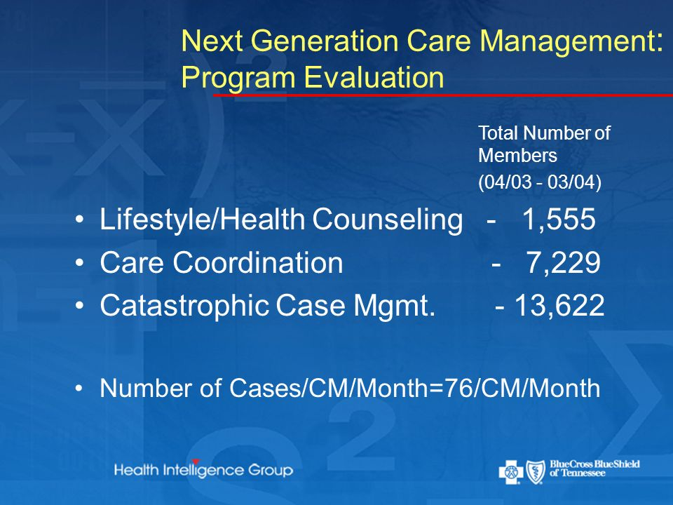 Next Generation Care Management : Program Evaluation Total Number of Members (04/03 - 03/04) Lifestyle/Health Counseling - 1,555 Care Coordination - 7,229 Catastrophic Case Mgmt.