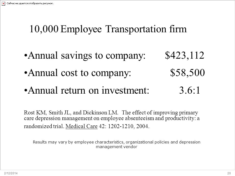 2/12/ RETURN ON INVESTMENT: ORGANIZATION 10,000 Employee Transportation firm Annual savings to company: $423,112 Annual cost to company: $58,500 Annual return on investment: 3.6:1 Rost KM, Smith JL, and Dickinson LM.