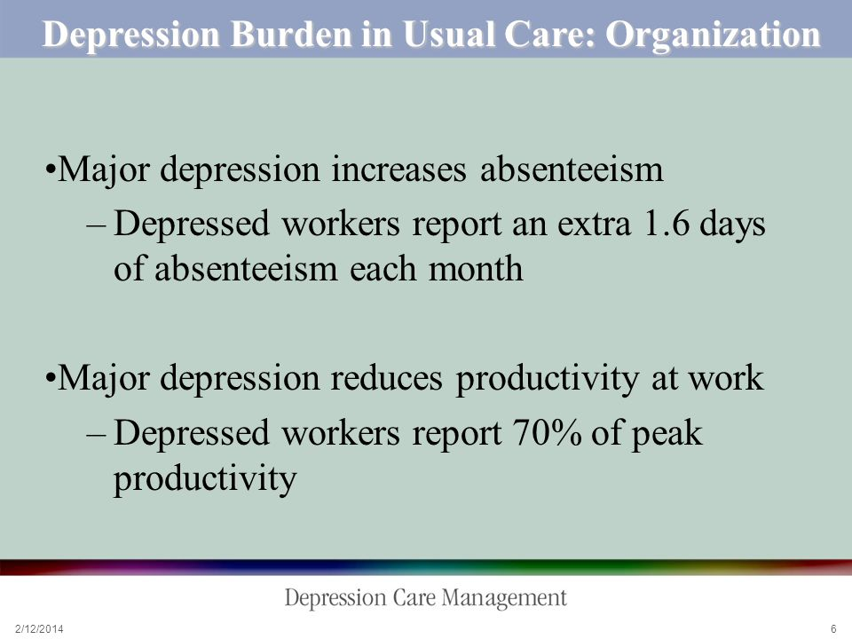 2/12/ Depression Burden in Usual Care: Organization Major depression increases absenteeism –Depressed workers report an extra 1.6 days of absenteeism each month Major depression reduces productivity at work –Depressed workers report 70% of peak productivity