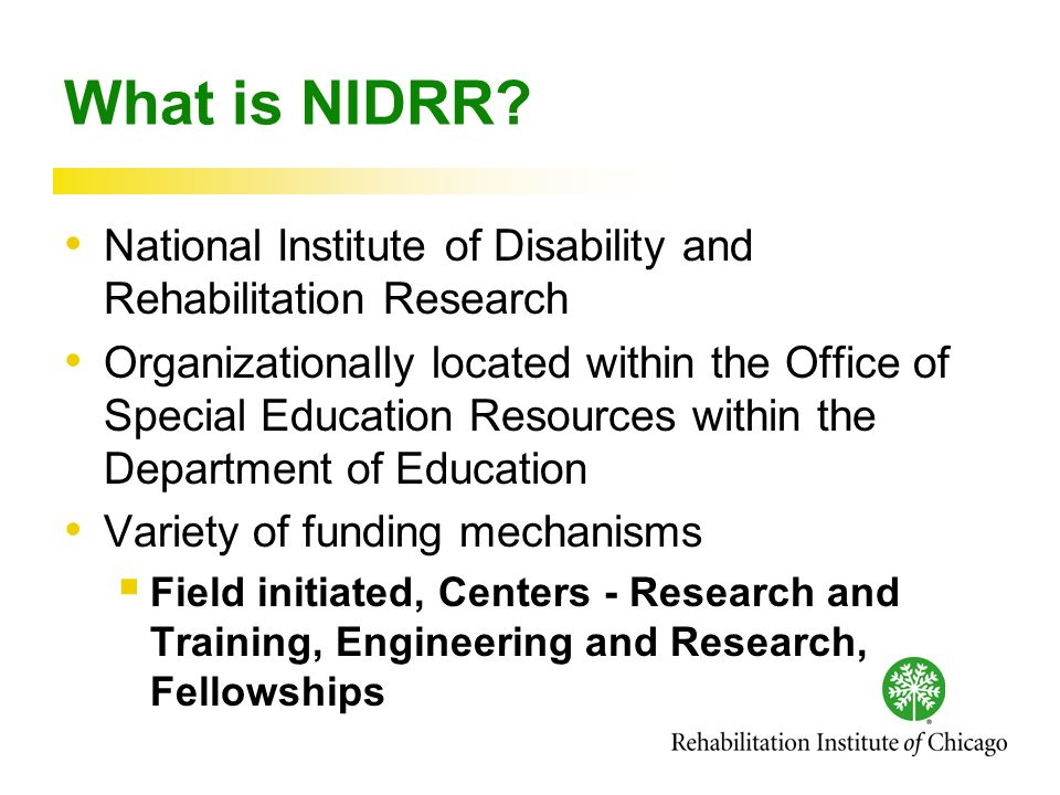 What is NIDRR.