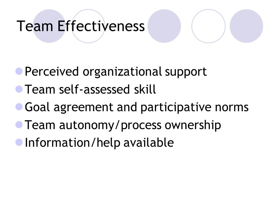 Team Effectiveness Perceived organizational support Team self-assessed skill Goal agreement and participative norms Team autonomy/process ownership Information/help available