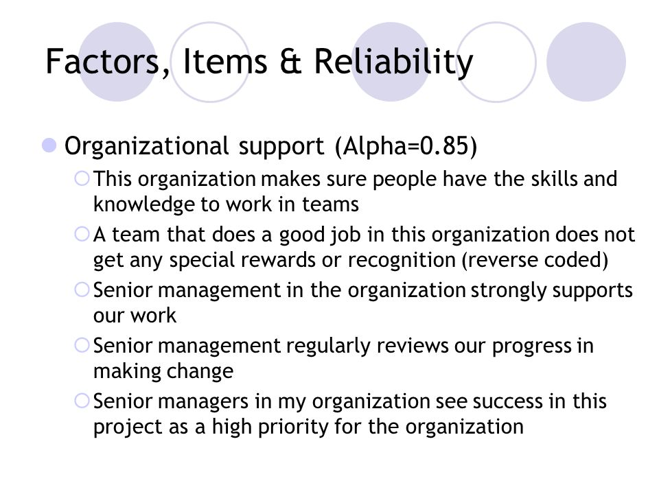 Factors, Items & Reliability Organizational support (Alpha=0.85) This organization makes sure people have the skills and knowledge to work in teams A team that does a good job in this organization does not get any special rewards or recognition (reverse coded) Senior management in the organization strongly supports our work Senior management regularly reviews our progress in making change Senior managers in my organization see success in this project as a high priority for the organization