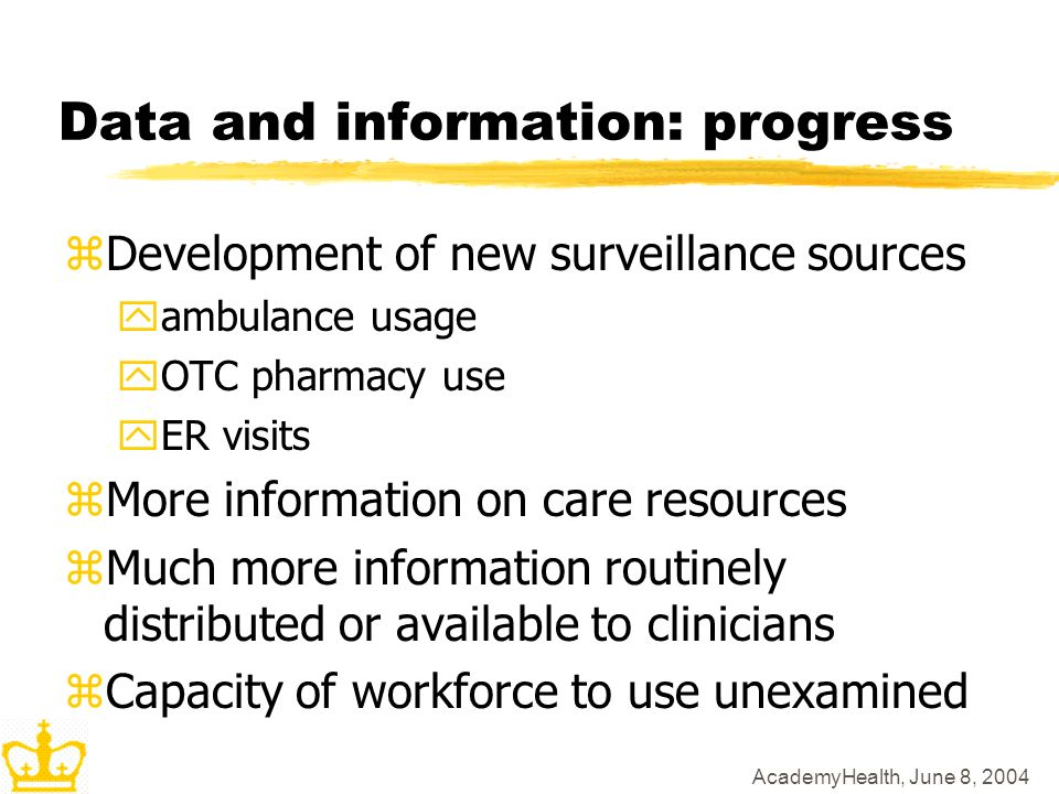 AcademyHealth, June 8, 2004 Data and information: progress zDevelopment of new surveillance sources yambulance usage yOTC pharmacy use yER visits zMore information on care resources zMuch more information routinely distributed or available to clinicians zCapacity of workforce to use unexamined