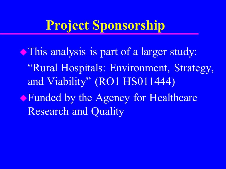 Project Sponsorship u This analysis is part of a larger study: Rural Hospitals: Environment, Strategy, and Viability (RO1 HS011444) u Funded by the Agency for Healthcare Research and Quality