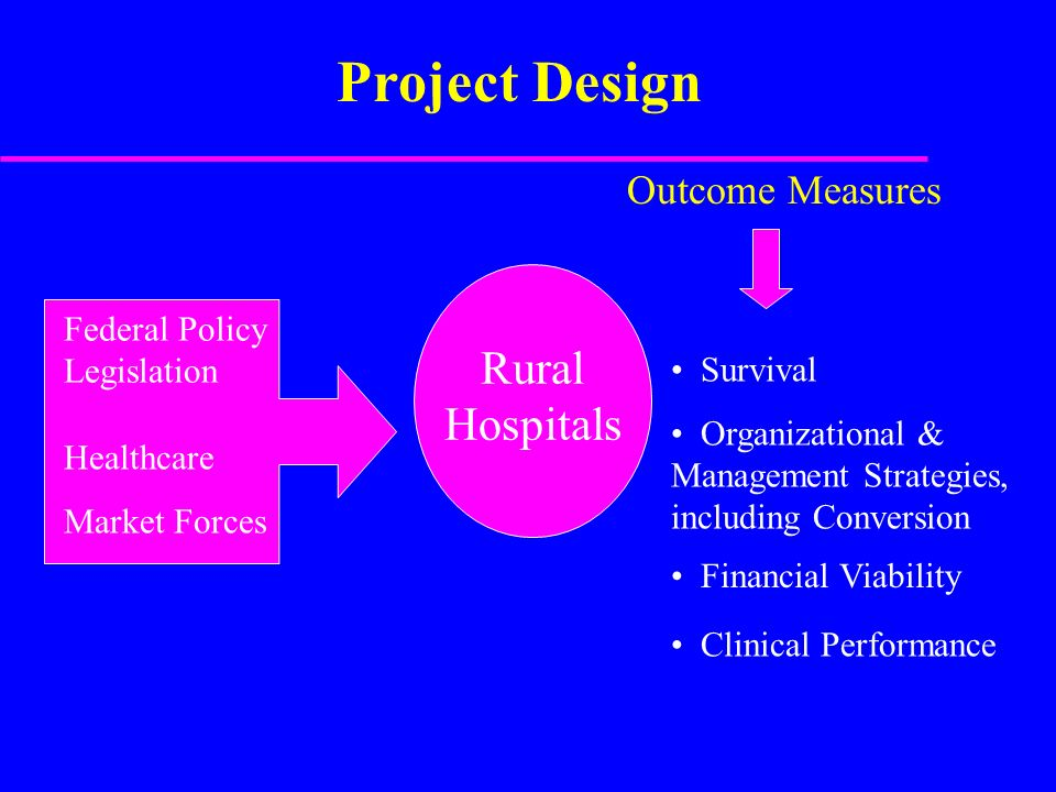 Clinical Performance Healthcare Market Forces Rural Hospitals Outcome Measures Federal Policy Legislation Financial Viability Survival Organizational & Management Strategies, including Conversion Project Design