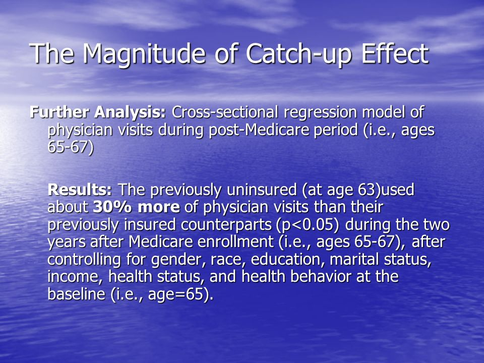 The Magnitude of Catch-up Effect Further Analysis: Cross-sectional regression model of physician visits during post-Medicare period (i.e., ages 65-67) Results: The previously uninsured (at age 63)used about 30% more of physician visits than their previously insured counterparts (p<0.05) during the two years after Medicare enrollment (i.e., ages 65-67), after controlling for gender, race, education, marital status, income, health status, and health behavior at the baseline (i.e., age=65).