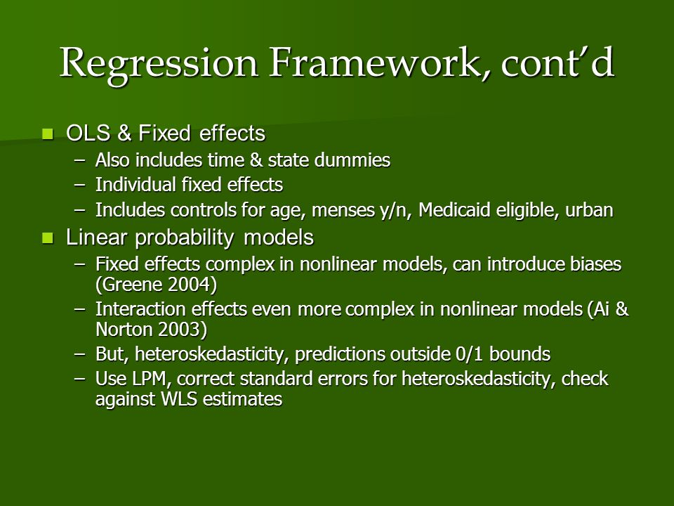 Regression Framework, contd OLS & Fixed effects OLS & Fixed effects –Also includes time & state dummies –Individual fixed effects –Includes controls for age, menses y/n, Medicaid eligible, urban Linear probability models Linear probability models –Fixed effects complex in nonlinear models, can introduce biases (Greene 2004) –Interaction effects even more complex in nonlinear models (Ai & Norton 2003) –But, heteroskedasticity, predictions outside 0/1 bounds –Use LPM, correct standard errors for heteroskedasticity, check against WLS estimates