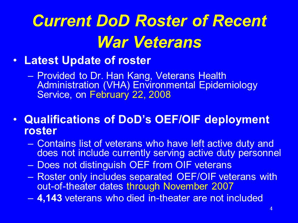 4 Current DoD Roster of Recent War Veterans Latest Update of roster –Provided to Dr.