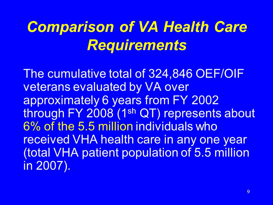 9 Comparison of VA Health Care Requirements The cumulative total of 324,846 OEF/OIF veterans evaluated by VA over approximately 6 years from FY 2002 through FY 2008 (1 sh QT) represents about 6% of the 5.5 million individuals who received VHA health care in any one year (total VHA patient population of 5.5 million in 2007).