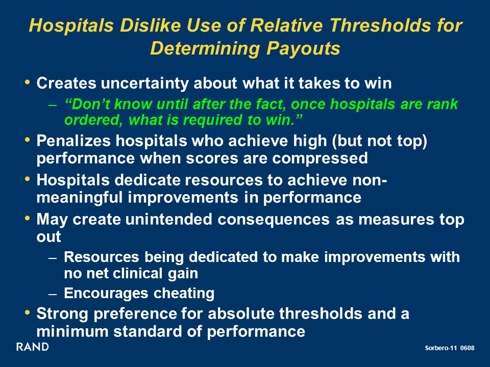 Sorbero-11 0608 Hospitals Dislike Use of Relative Thresholds for Determining Payouts Creates uncertainty about what it takes to win –Dont know until after the fact, once hospitals are rank ordered, what is required to win.