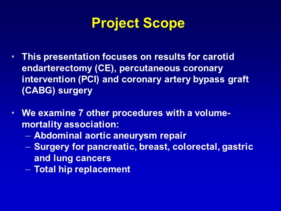 Project Scope This presentation focuses on results for carotid endarterectomy (CE), percutaneous coronary intervention (PCI) and coronary artery bypass graft (CABG) surgery We examine 7 other procedures with a volume- mortality association: –Abdominal aortic aneurysm repair –Surgery for pancreatic, breast, colorectal, gastric and lung cancers –Total hip replacement