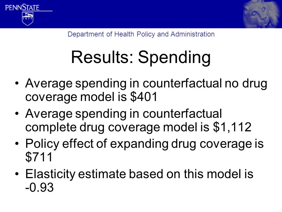 Results: Spending Average spending in counterfactual no drug coverage model is $401 Average spending in counterfactual complete drug coverage model is $1,112 Policy effect of expanding drug coverage is $711 Elasticity estimate based on this model is -0.93 Department of Health Policy and Administration