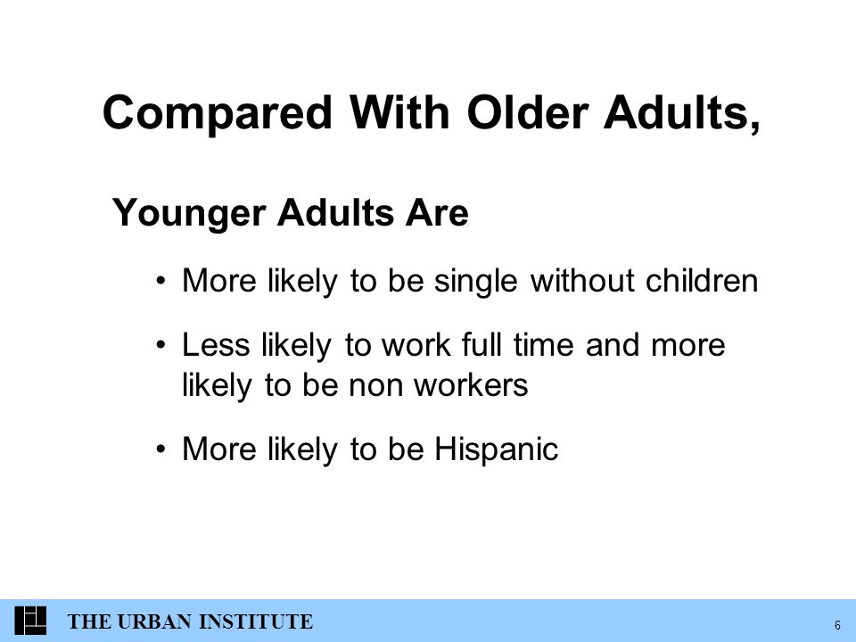 THE URBAN INSTITUTE 6 Compared With Older Adults, Younger Adults Are More likely to be single without children Less likely to work full time and more likely to be non workers More likely to be Hispanic