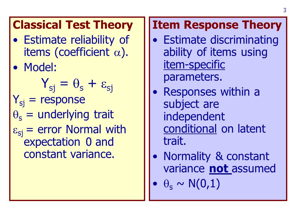 3 Classical Test Theory Estimate reliability of items (coefficient ).