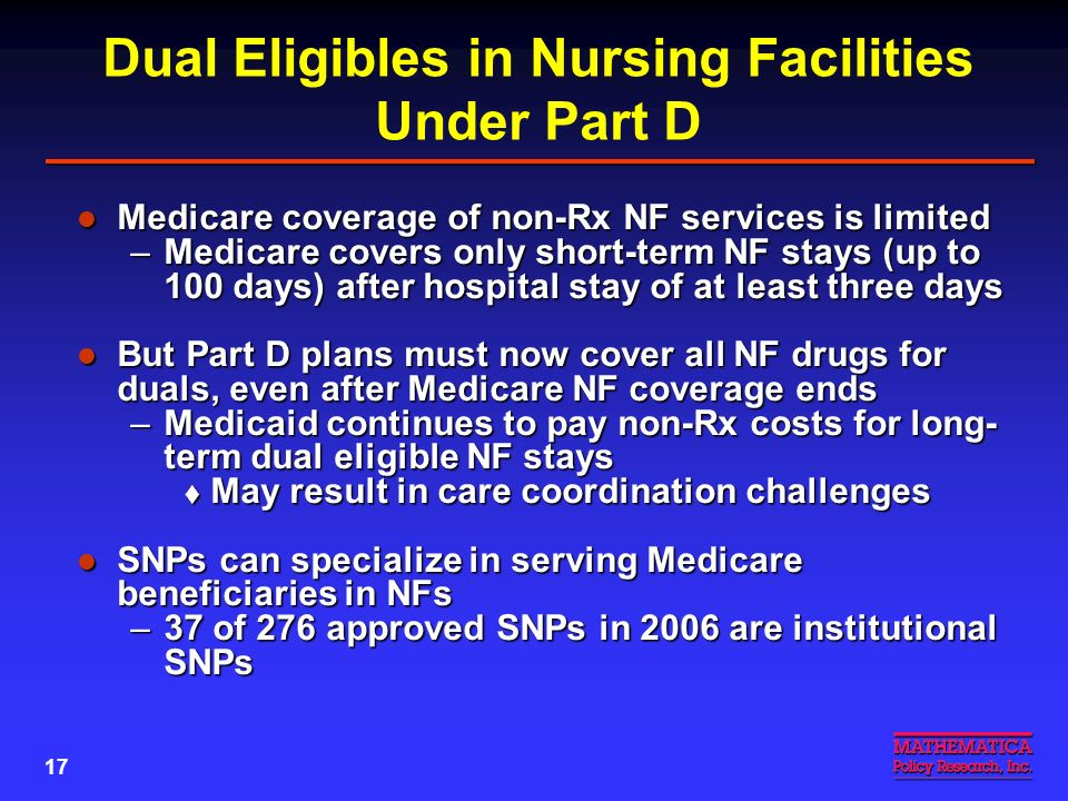 16 Dual Eligibles Have Complex Care Needs and Limited Resources May need more help navigating the Medicare- Medicaid system than most Part D plans can provide May need more help navigating the Medicare- Medicaid system than most Part D plans can provide Some characteristics of dual eligibles Some characteristics of dual eligibles –38 percent have mental or cognitive limitations –Over 20 percent say their health is poor –One-third have 3+ ADL limits –62% never graduated from high school –Over half live alone (31%) or in a nursing facility (23%) –62% have incomes below poverty SOURCE: MedPAC Report to the Congress, June 2004, pp.