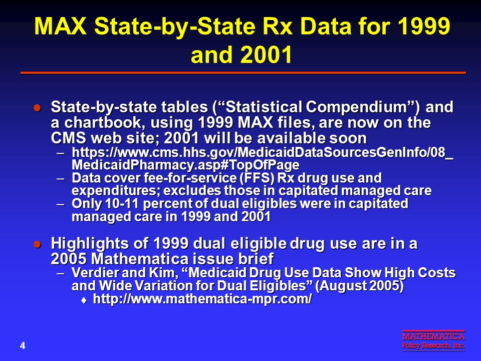 3 Background on MAX Files Medicaid Analytic Extract (MAX) data are prepared by CMS from Medicaid data submitted electronically by all states and DC Medicaid Analytic Extract (MAX) data are prepared by CMS from Medicaid data submitted electronically by all states and DC –MAX files link claims data on all Medicaid services to beneficiary eligibility files, creating a person summary file for each beneficiary –Can be used for person-level analyses –Can also be used for detailed state-by-state analyses and comparisons MAX files are available for 1999-2001; 2002 will be available soon MAX files are available for 1999-2001; 2002 will be available soon –For details, see: https://www.cms.hhs.gov/MedicaidDataSourcesGenInfo/07_ MAXGeneralInformation.asp#TopOfPage –Files can only be used by researchers with CMS data use agreements