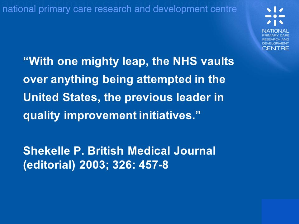 With one mighty leap, the NHS vaults over anything being attempted in the United States, the previous leader in quality improvement initiatives.