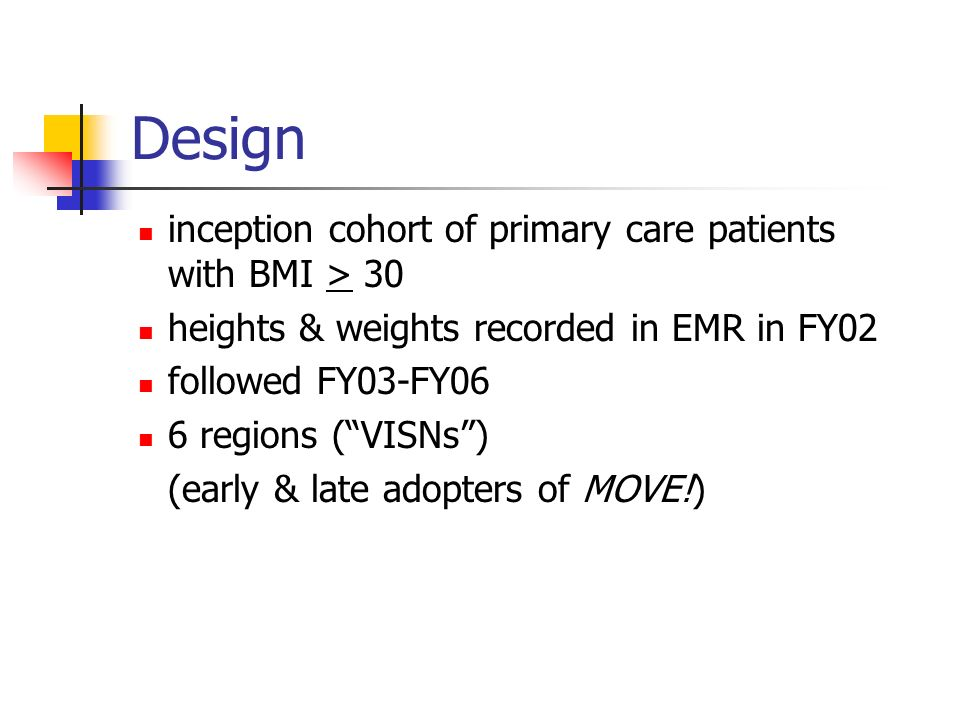 Design inception cohort of primary care patients with BMI > 30 heights & weights recorded in EMR in FY02 followed FY03-FY06 6 regions (VISNs) (early & late adopters of MOVE!)