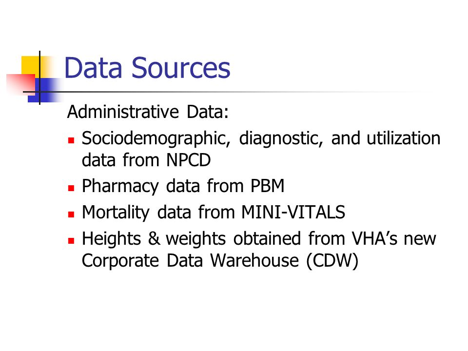Data Sources Administrative Data: Sociodemographic, diagnostic, and utilization data from NPCD Pharmacy data from PBM Mortality data from MINI-VITALS Heights & weights obtained from VHAs new Corporate Data Warehouse (CDW)