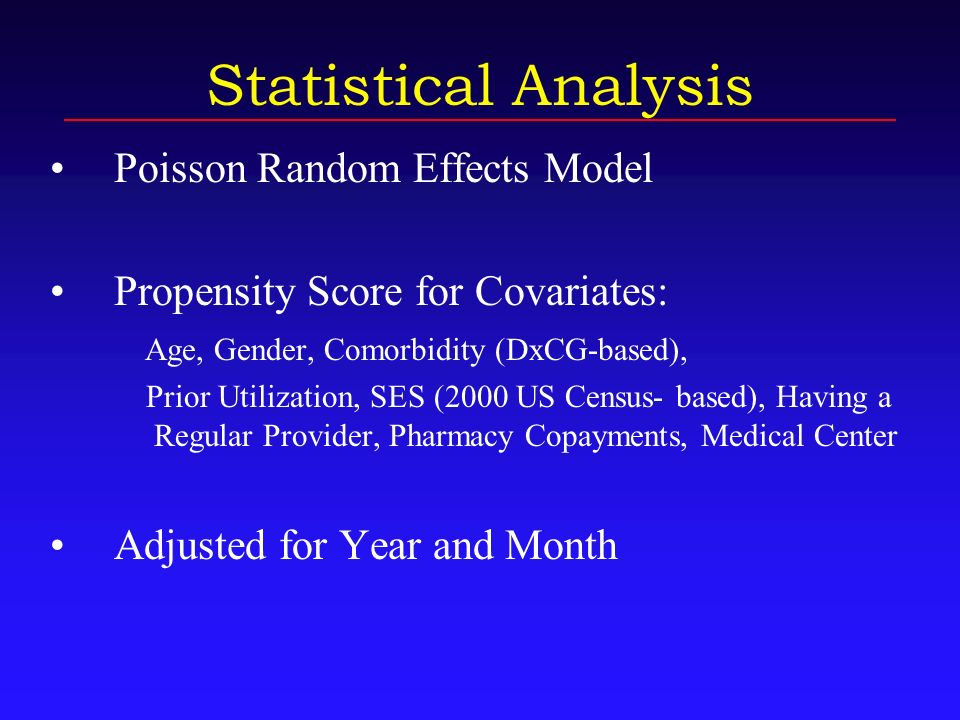 Statistical Analysis Poisson Random Effects Model Propensity Score for Covariates: Age, Gender, Comorbidity (DxCG-based), Prior Utilization, SES (2000 US Census- based), Having a Regular Provider, Pharmacy Copayments, Medical Center Adjusted for Year and Month