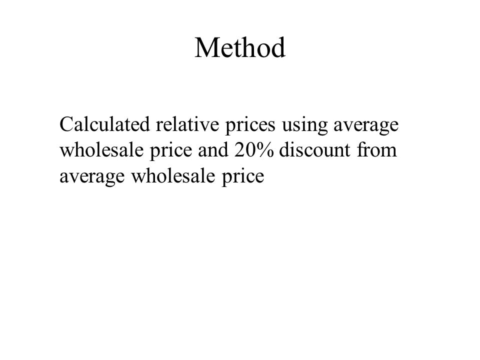Method Calculated relative prices using average wholesale price and 20% discount from average wholesale price