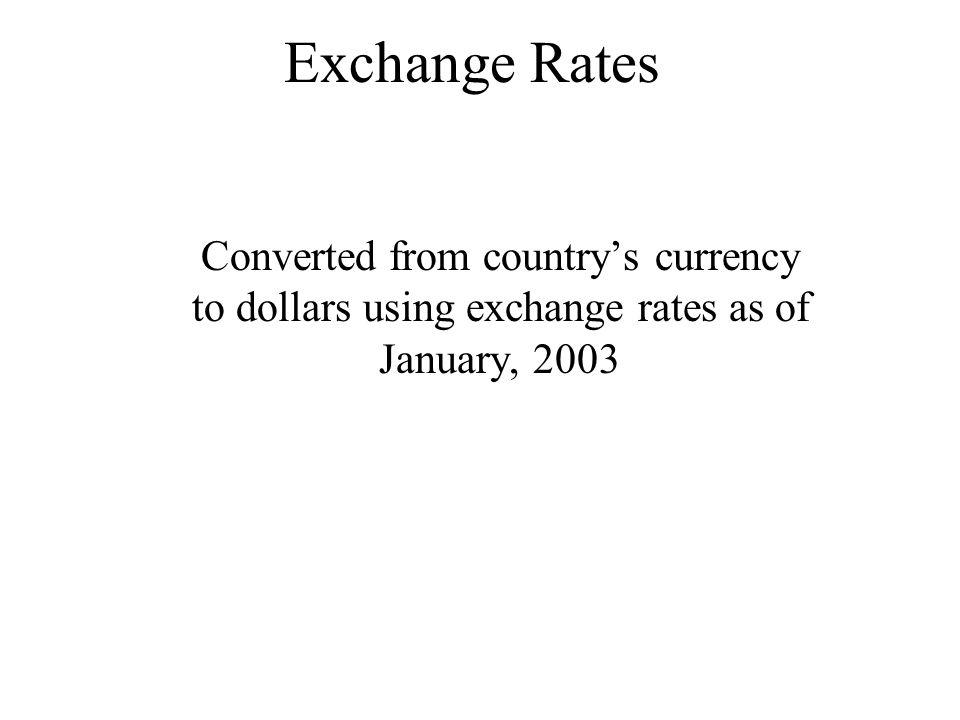 Exchange Rates Converted from countrys currency to dollars using exchange rates as of January, 2003