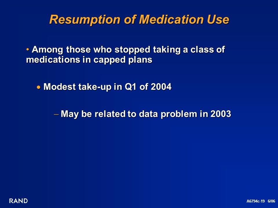 A6794c-19 6/06 Resumption of Medication Use Among those who stopped taking a class of medications in capped plans Among those who stopped taking a class of medications in capped plans Modest take-up in Q1 of 2004 Modest take-up in Q1 of 2004 May be related to data problem in 2003 May be related to data problem in 2003